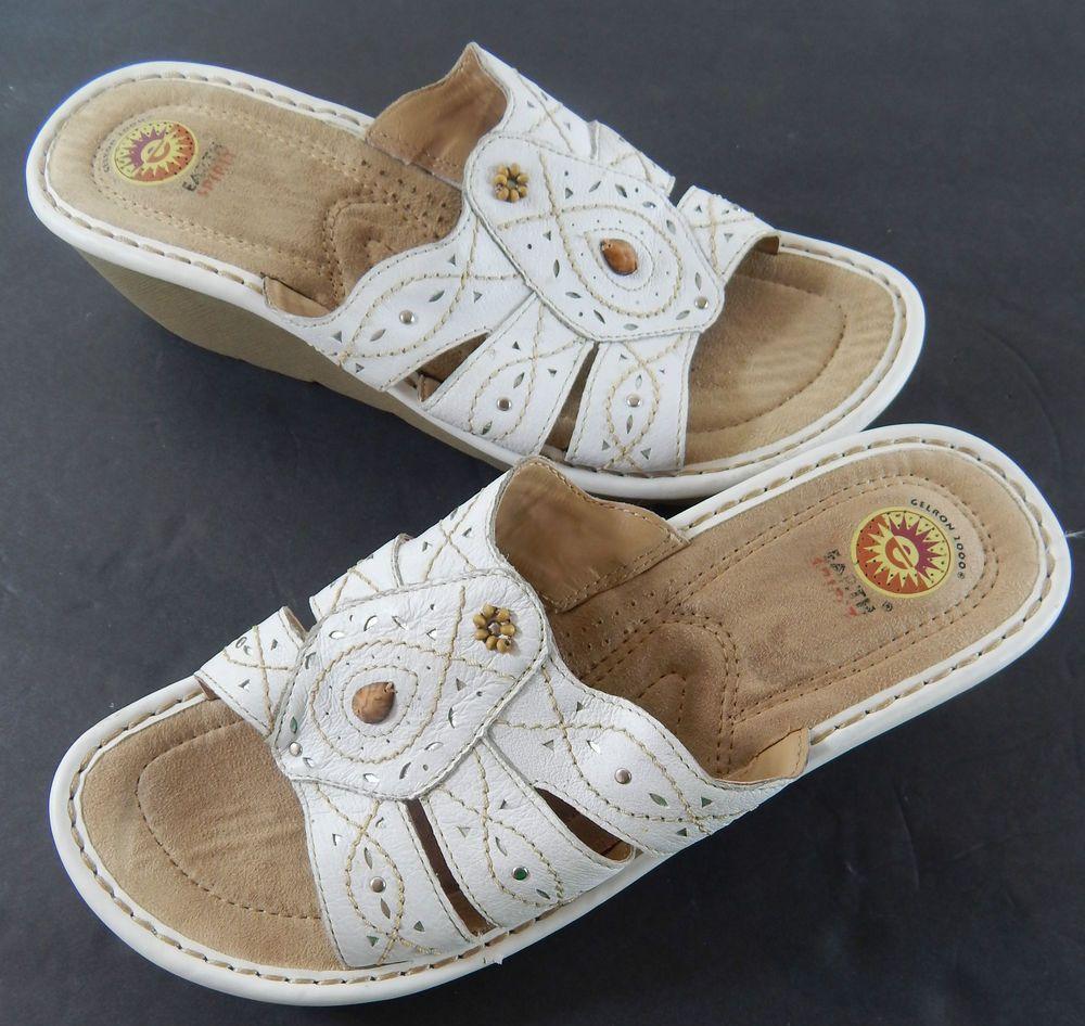 Earth Spirit Monica Womens 11 White Leather Beaded Stitch Wedge Slides Sandals #EarthSpirit #Slides #Casual