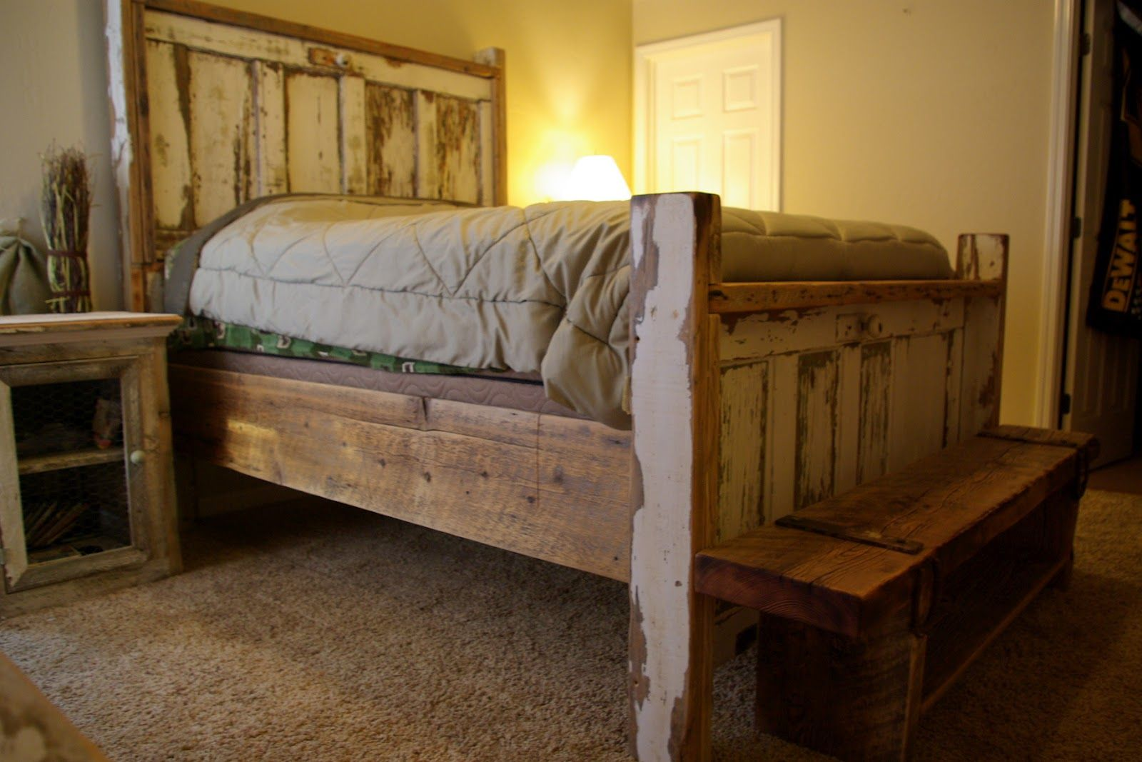 Vintage Door Headboard \u0026 Foot board and Barnwood Bench This Queen bed frame is part of the . & Rustic Reclaimed Wood Furniture and Home Decor using barn wood and ...