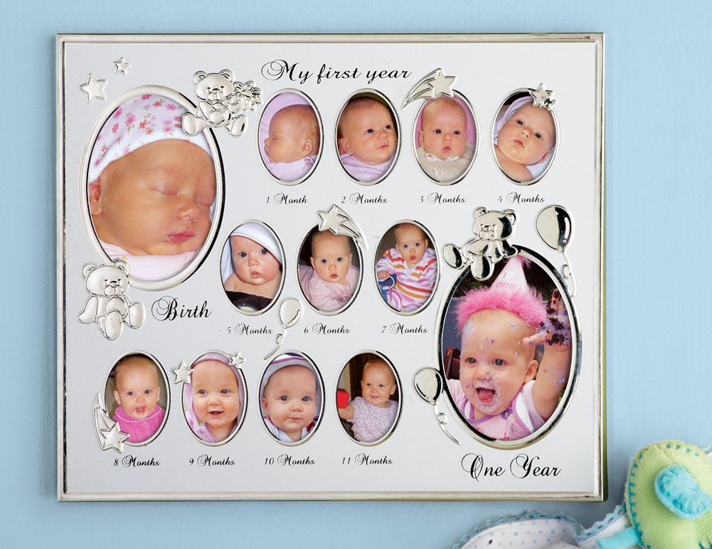 Amazon Com Collections Etc My First Year Baby Picture Frame I Need This To Condense My Shrine To Suga Baby Picture Frames Picture Frame Shop Picture Frames