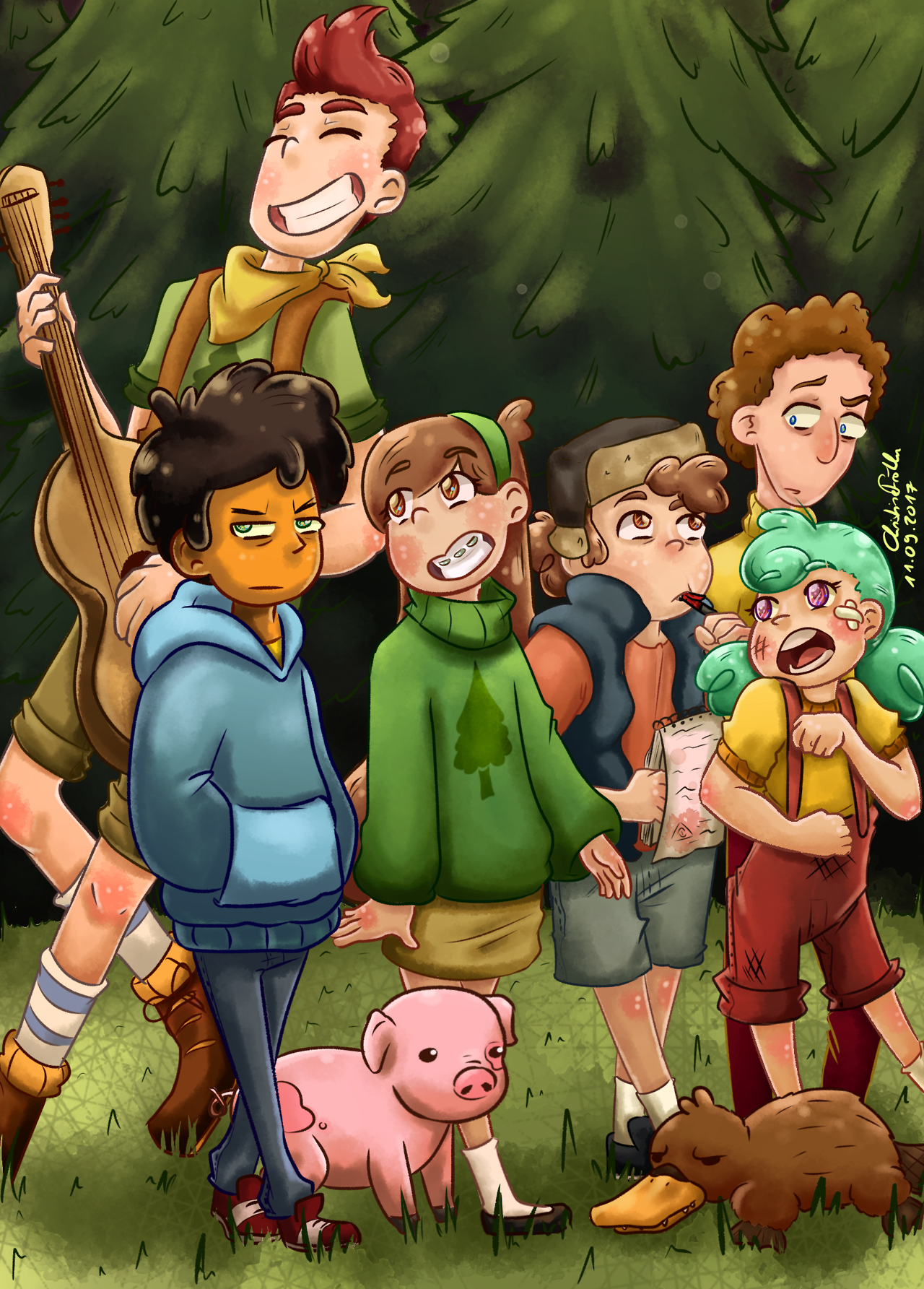 Camp Camp/ Gravity Falls AU in which the Pine twins visit ...
