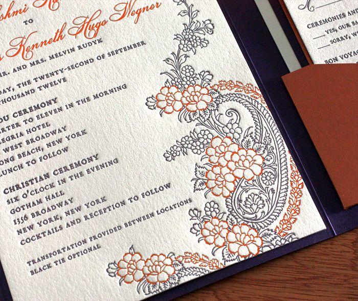 indian letterpress wedding invitation by invitations by ajalon - fresh invitation wording reception