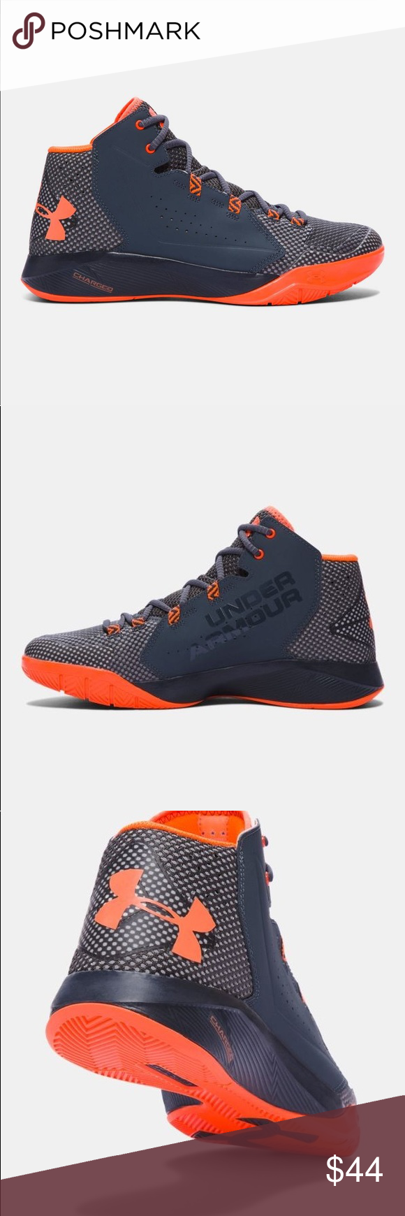 1c4c012db0d5 Under Armour UA BPS Torch Fade BB Orange Size 11k. UA Torch Fade Stealth  Gray   Magma Orange •Lightweight leather upper with molded foam heel and  forefoot ...