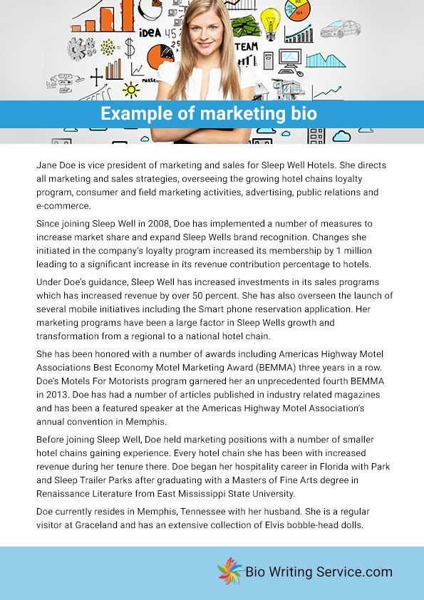 Example of marketing bio Education - uCollect Infographics - biography example