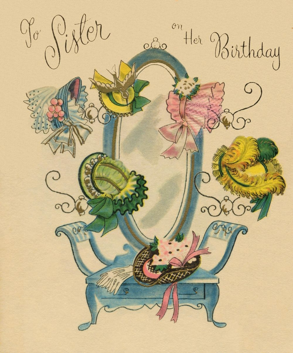 Vintage Sister Birthday Card From Yestercards