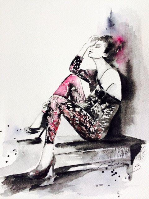 Love Romance Fashion Original Watercolor Painting - Fashion Illustration by Lana