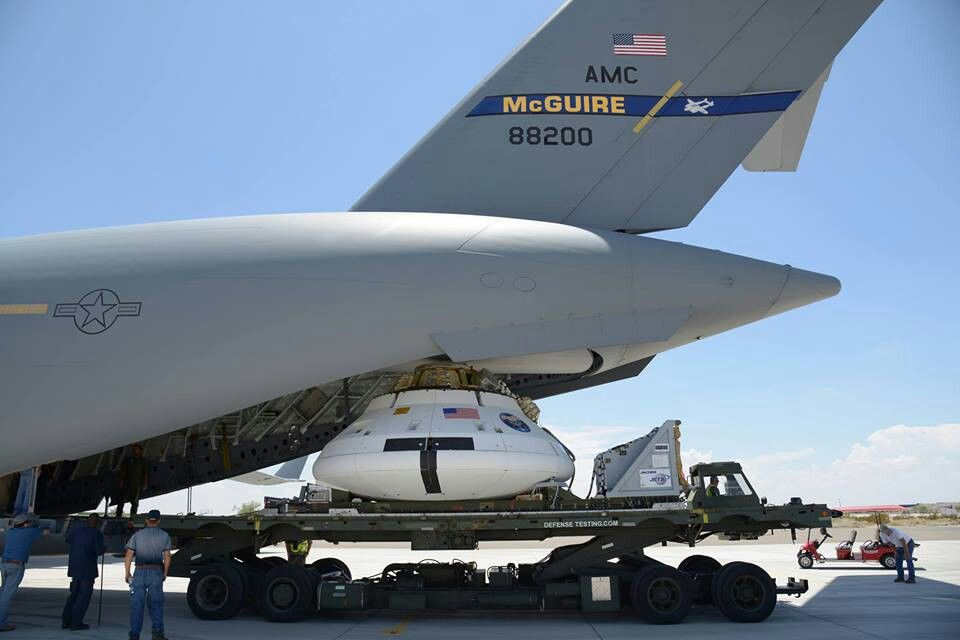 Orion Parachute Test Vehicle being loaded onto a C-17