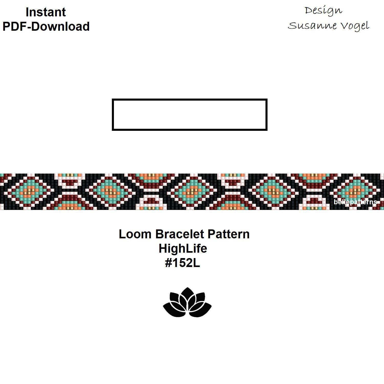 loom bracelet pattern,pdf-download,DIY,#152L,cuff bracelet pattern ...