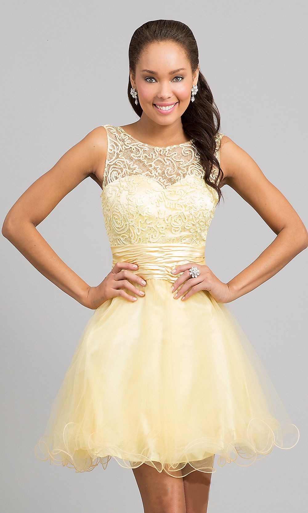 d4f16b060f1 Baby Doll A Line Short Gold Prom Dress Lace Poofy Wide Strap