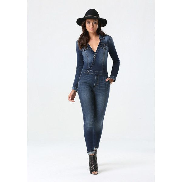 Denim Surplice Jumpsuit ($139) ❤ liked on Polyvore featuring ...