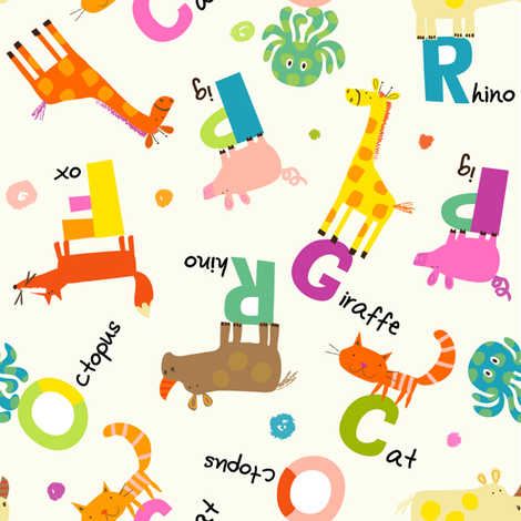 Animal Alphabet fabric by redfish on Spoonflower - custom fabric