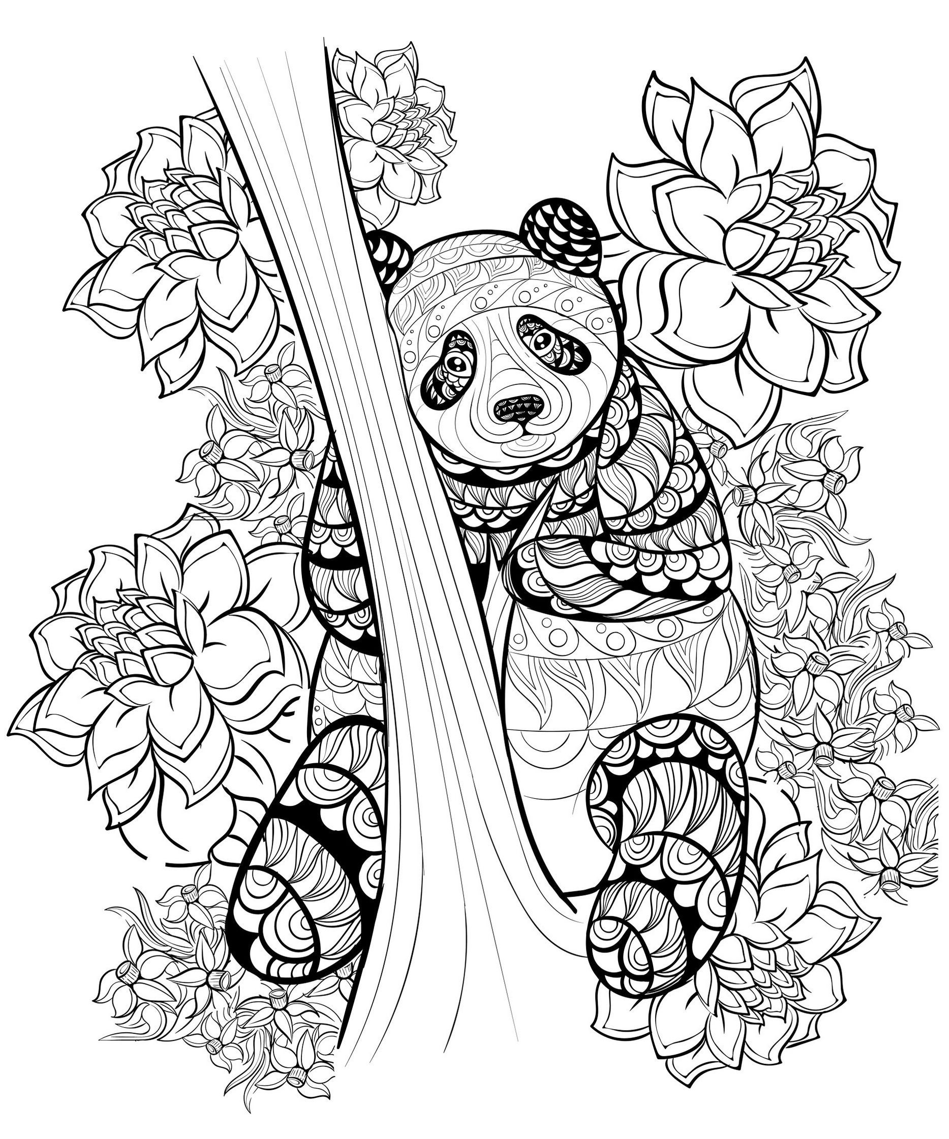Zentangle Panda Coloring Sheet Printable