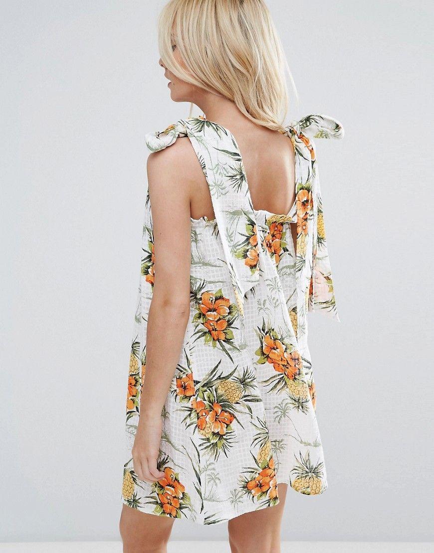 ASOS PETITE Vintage Tropical Print Sundress with Tie Straps - Multi