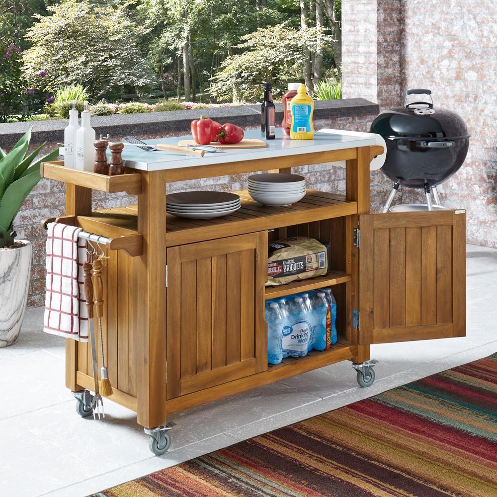 Homestyles maho golden brown teak outdoor barbeque cart