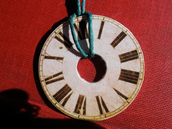 Roman Numerals Clock Face Washer Necklace Teal By