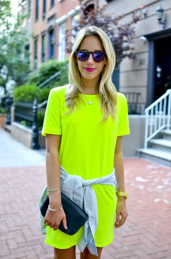 54439c15b5 Neon Yellow T-Shirt Dress - Katie's Bliss   style in 2019   Neon ...