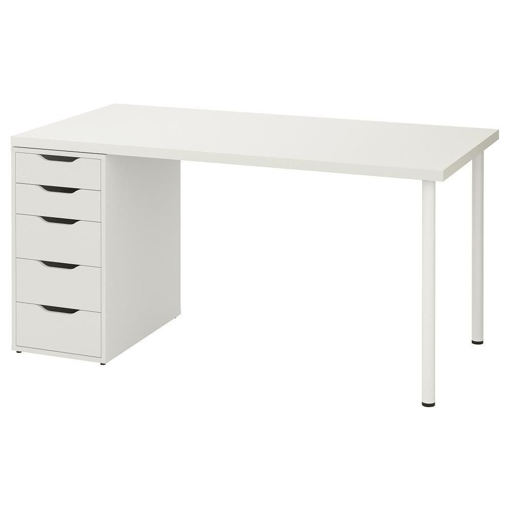 Linnmon Alex Table White 59x29 1 2 Ikea Wall Shelf Unit Ikea Drawer Unit