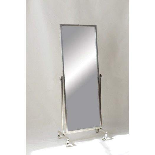 turn of the century modern industrial silver floor mirror on wheels ...