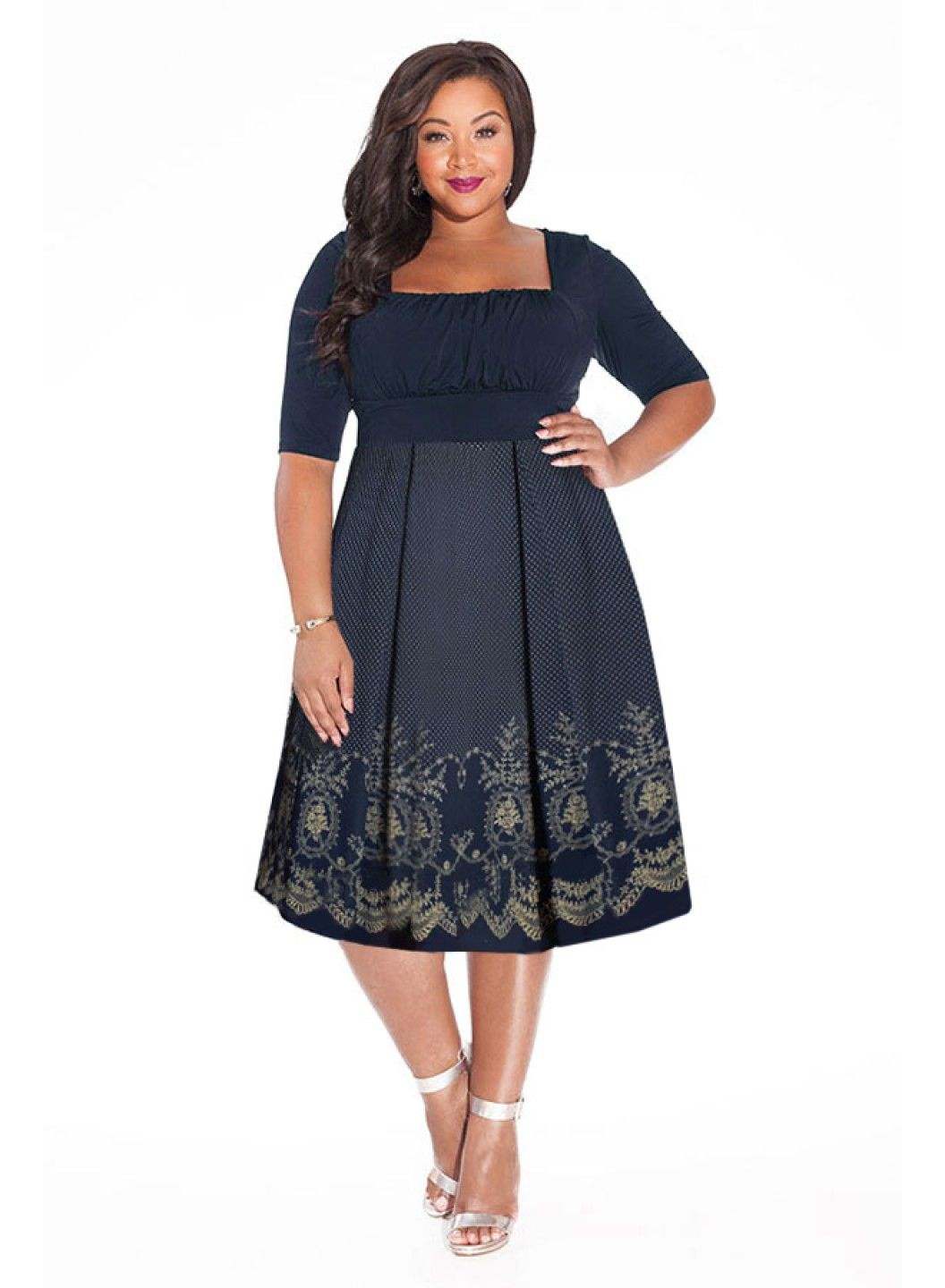 Midnight blue plus size dresses