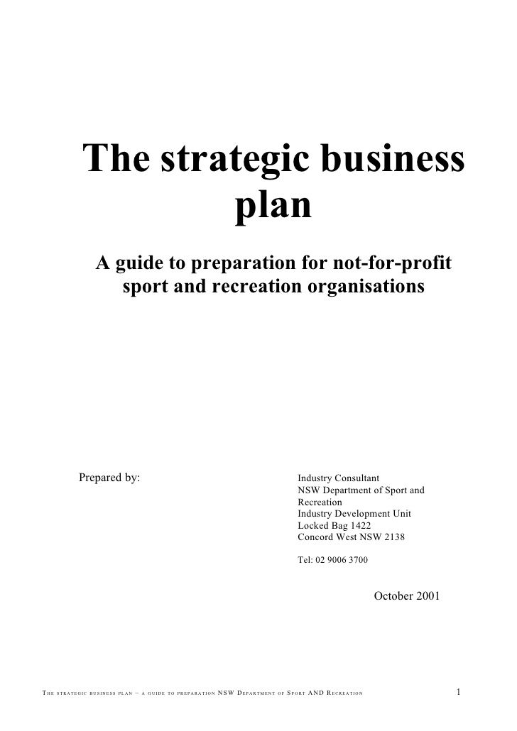 Business Plan Sample Cover Page The Strategic Title Required