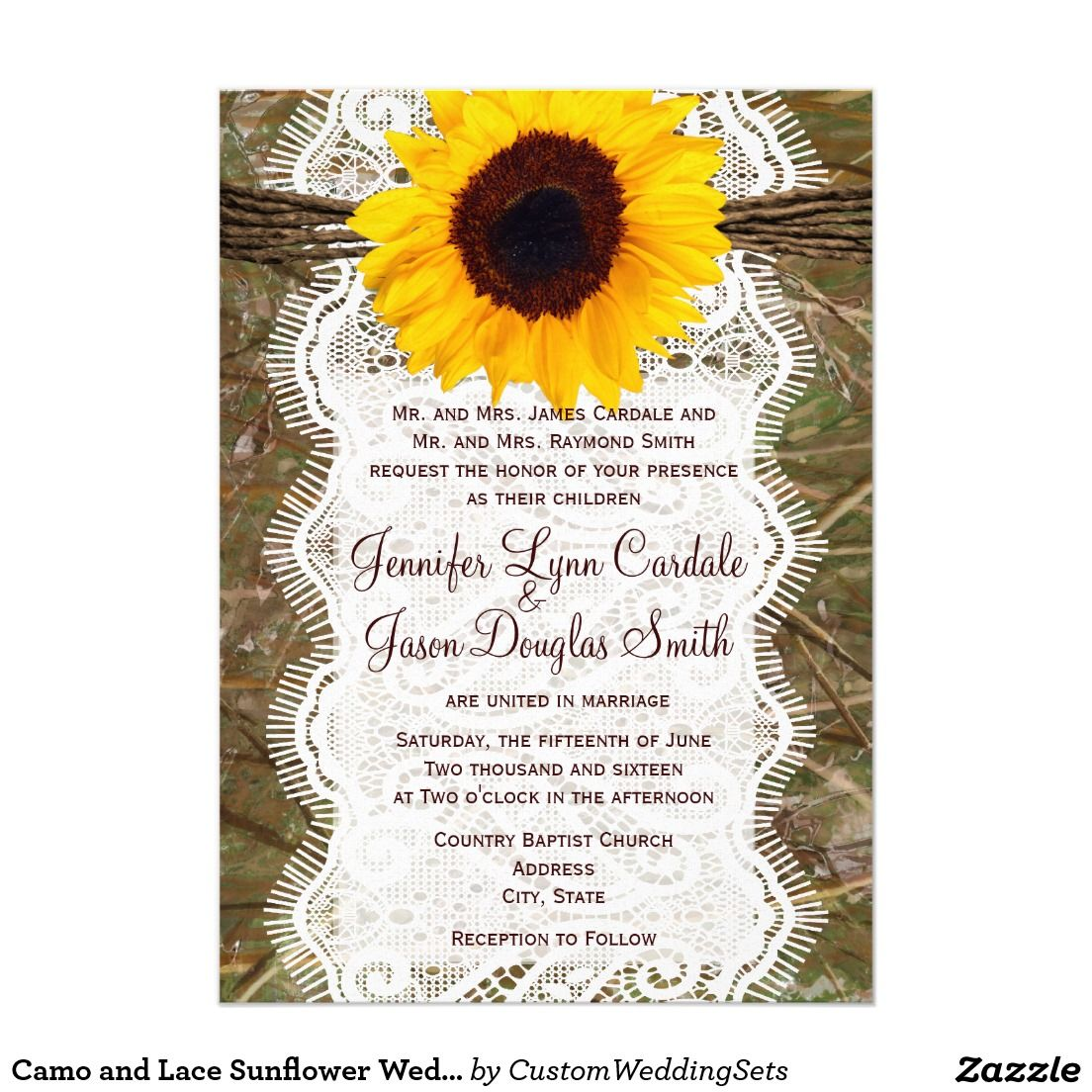 Camo and Lace Sunflower Wedding Invitations | *Sunflower Wedding ...