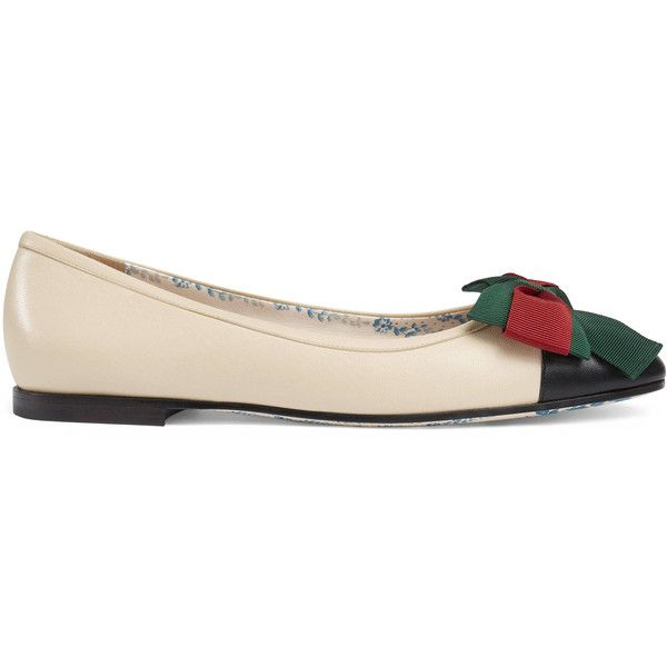 d59898fe6daf Gucci Leather Ballet Flat With Web Bow ( 790) ❤ liked on Polyvore featuring  shoes