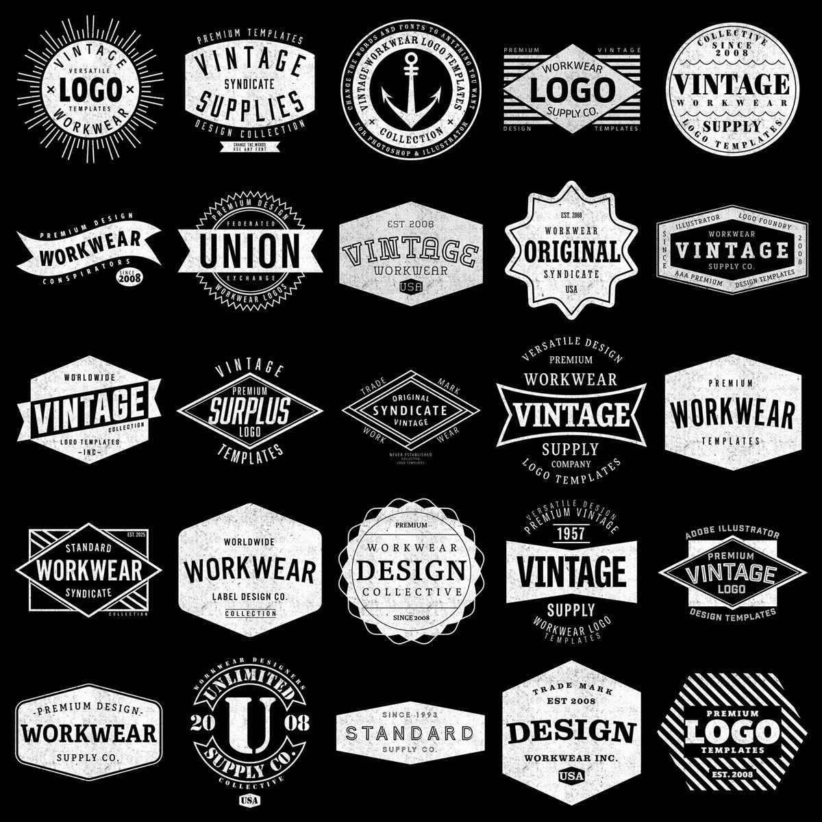 Vintage Workwear Logo Templates Vintage graphic design