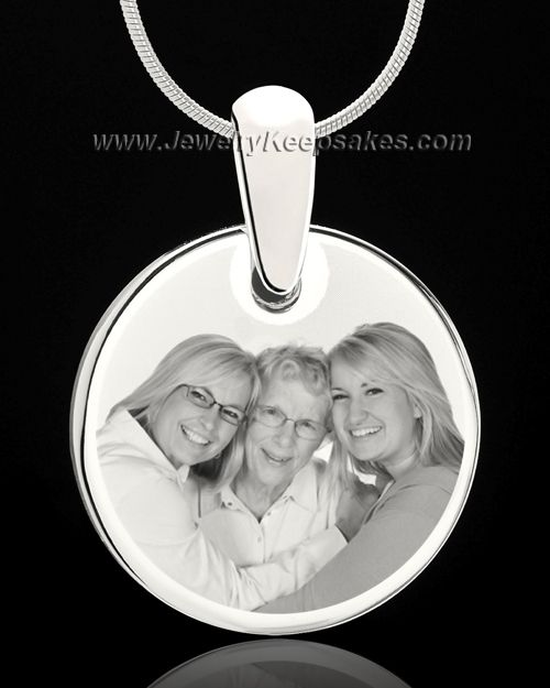 silver round photo engraved pendant for remembrance