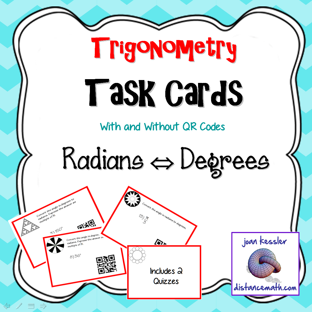 Converting Radians And Degrees Task Cards With Qr And Quiz