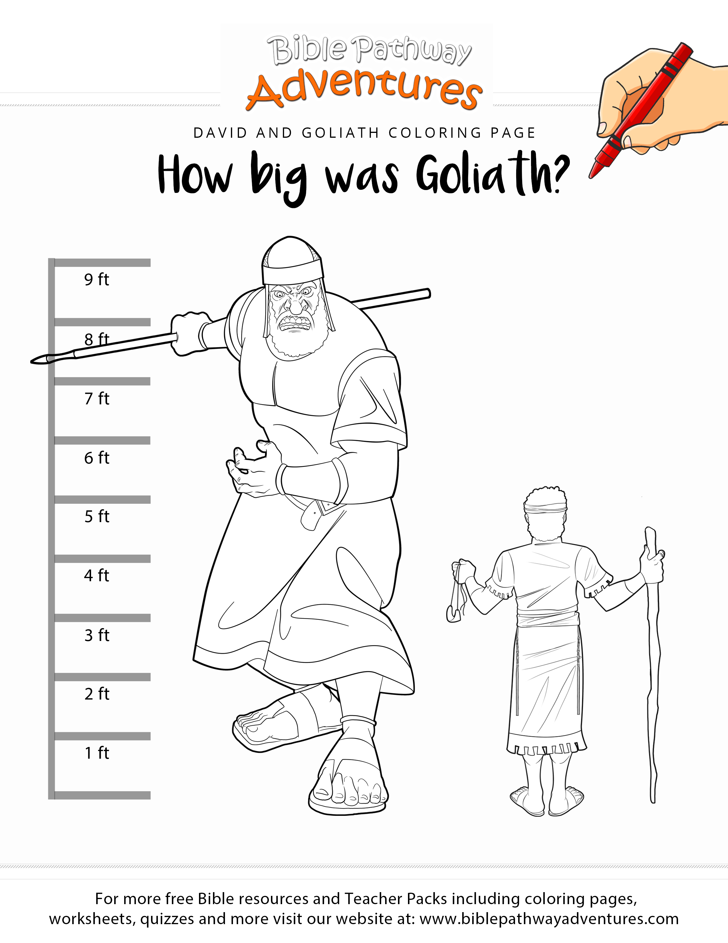 Free bible coloring page how big was goliath printable bible activity for homeschoolers sunday school and sabbath school students teachers and parents