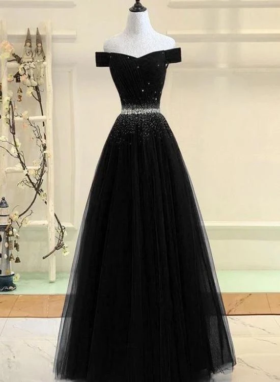 Beautiful Black Off Shoulder Party Dress, Long Par