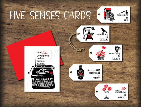 Romantic Five Senses Gift Tags & Card. Instant Download