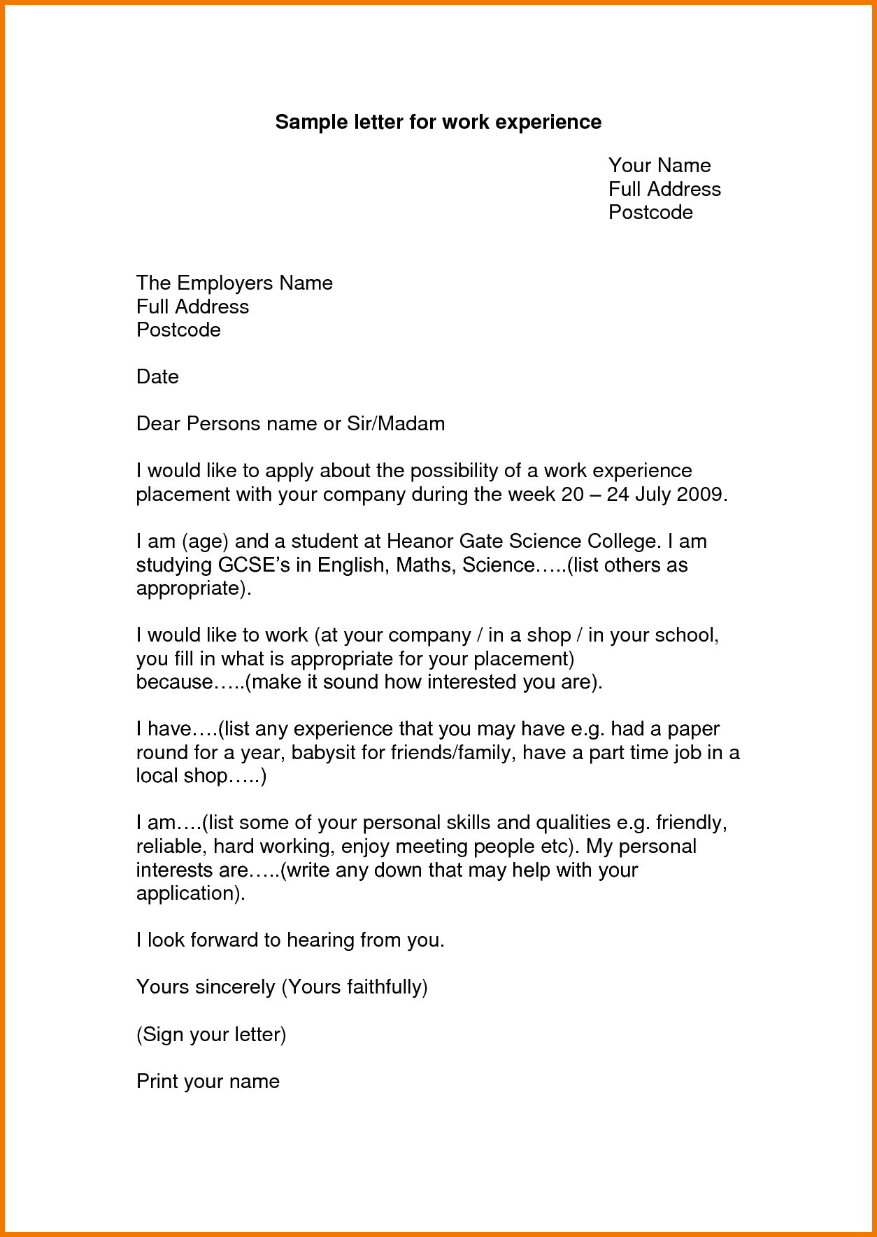 Experience Letter Format For Work Appeal Letters Sample Certificate