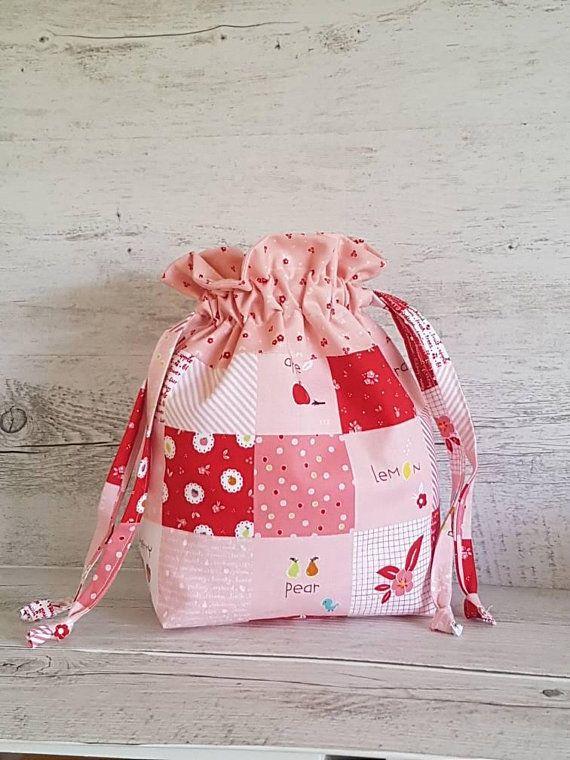 Knitting Project Bag Floral Drawstring Bag Sewing Project Bag