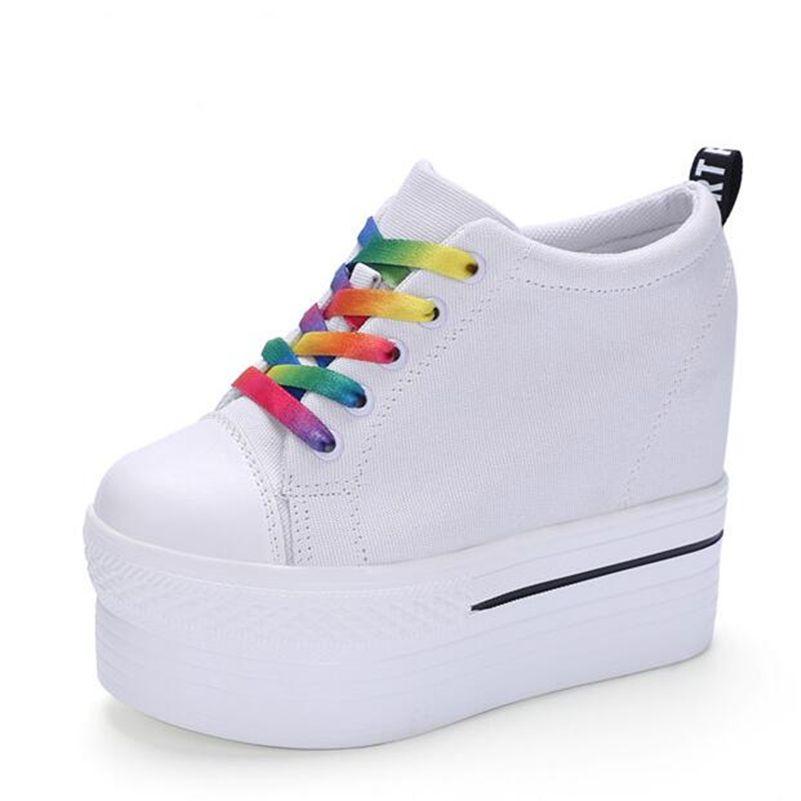 d46d4b28a3cc Wedges Canvas Shoes Woman Platform Vulcanized Shoes Hidden Heel Height  Increasing Casual Shoes female chaussure femme
