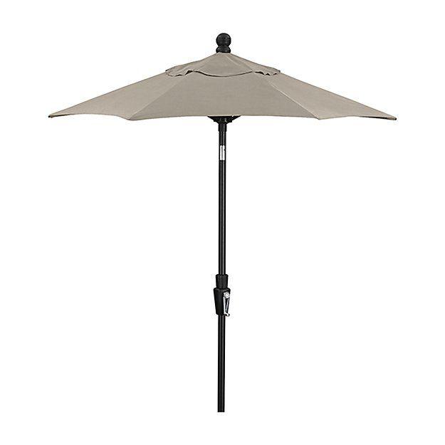 6' Round Sunbrella ® Stone Patio Umbrella with Tilt Black Frame   Crate and Barrel