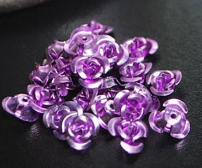 Lavender Flower Beads | 80 Aluminum Lavender Rose Flower Beads - Size 12mm x 7mm