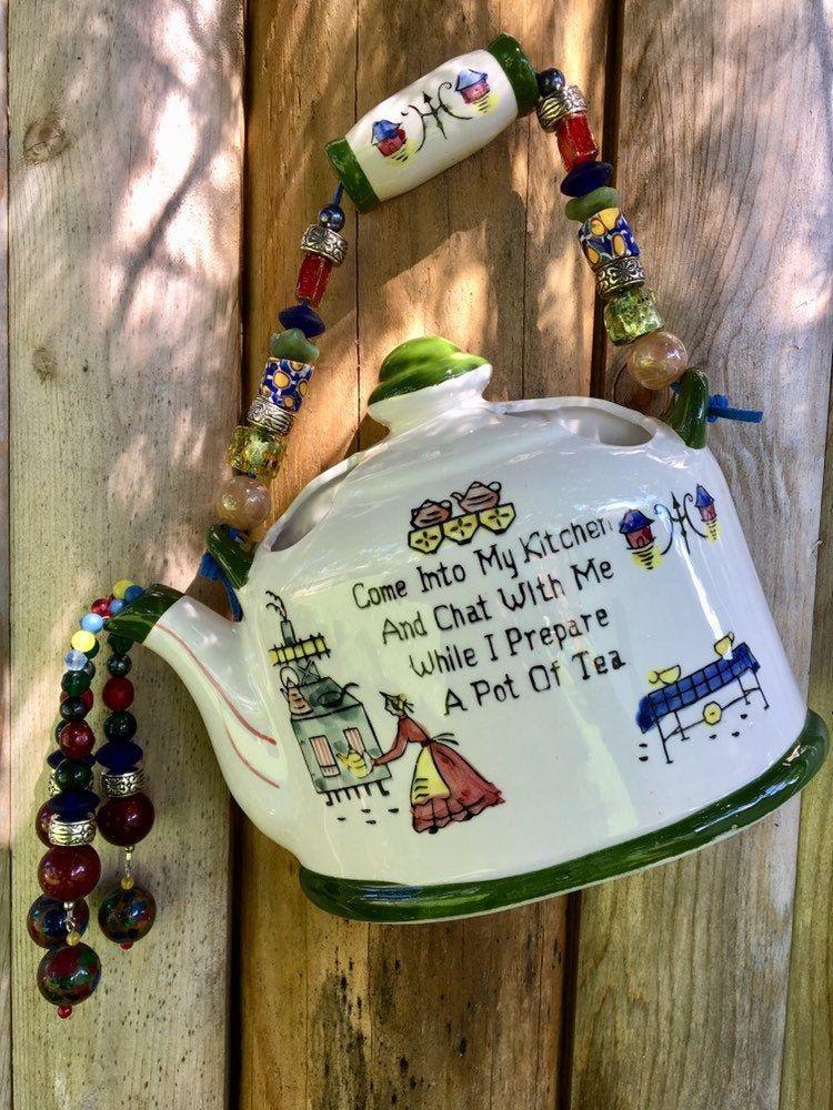 Tea Pot Wall Hanging Tea Pot Quote Retro Kitchen Art Tea Etsy Teapot Decor Flower Holder Ceramic Flowers