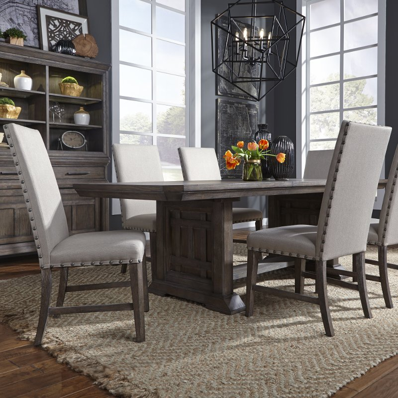 Aged Oak And Gray Upholstered 5 Piece Dining Set Artisan Prairie