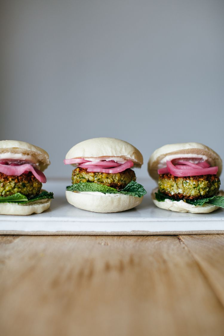 Molly Yeh's Falafel Sliders made with Spicy Yogurt, Mint, and Sumac Onions. Whoa. | MyNameisYeh.com