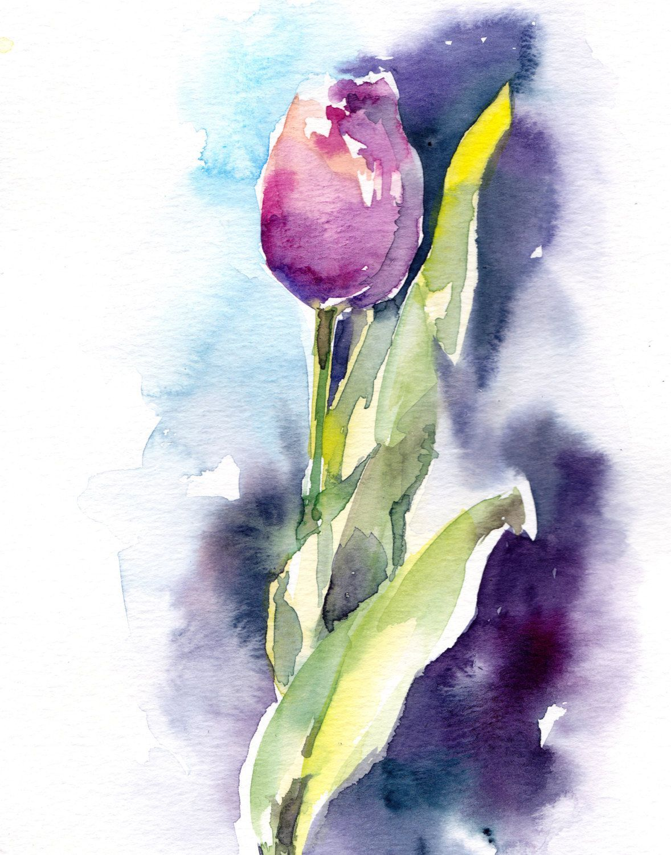 Tulip Watercolor Painting Art Print Pink Tulip Painting Modern