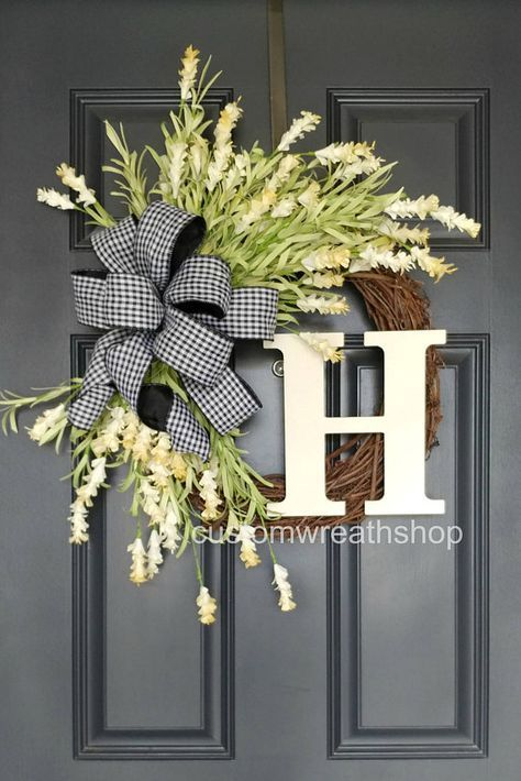 White Wreath For Spring Front Door Wreath Everyday Wreath With Monogram Year Round Wreath With Initial Tulip Wreath Custom Wreath Gift Porch Decorating Door Decorations Front Porch Decorating