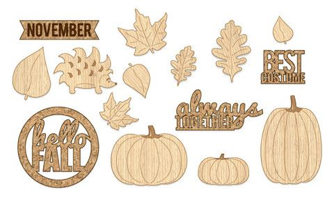 Exclusive Fall Wood/Cork Embellishments- 15 pcs – Chic Tags