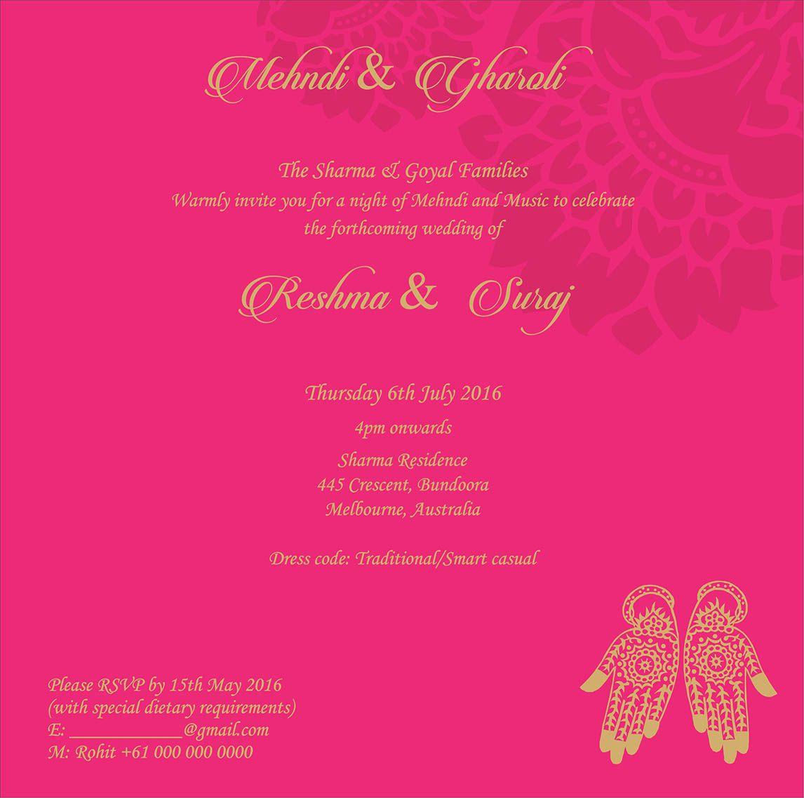 Wedding Invitation Wording For Mehndi Ceremony Marriage Invitation Card Wedding Cards Indian Wedding Cards