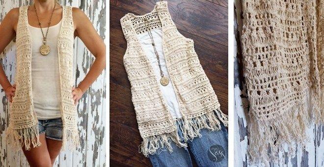Boho Crochet Fringe Vest Beautystyle Crochet Vest Outfit
