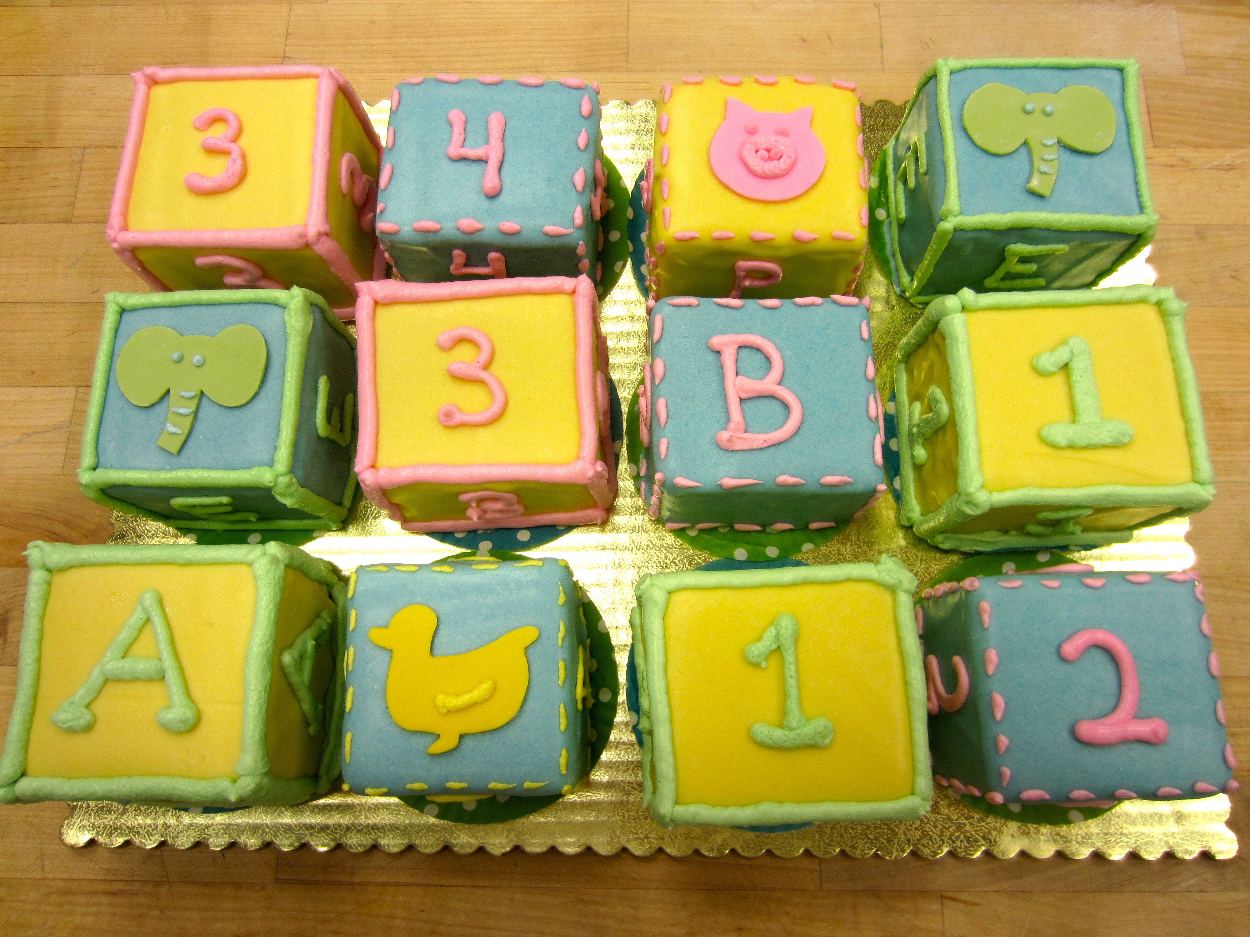 Individual Square Baby Shower Cakes with Duckies & Piggies, etc - Super Cute!