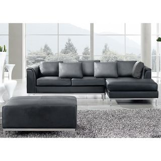Beliani Oslo Black Modern Sectional Leather Sofa with Ottoman  sc 1 st  Pinterest : black modern sectional - Sectionals, Sofas & Couches