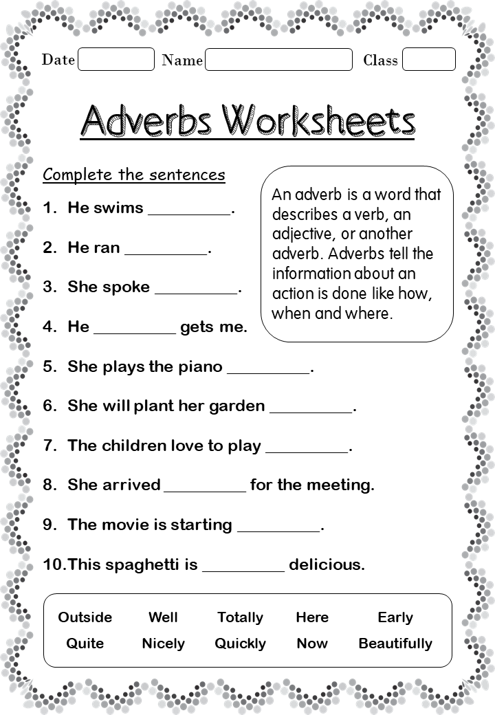 Printable Adverb worksheets for 2nd Grade Your Home
