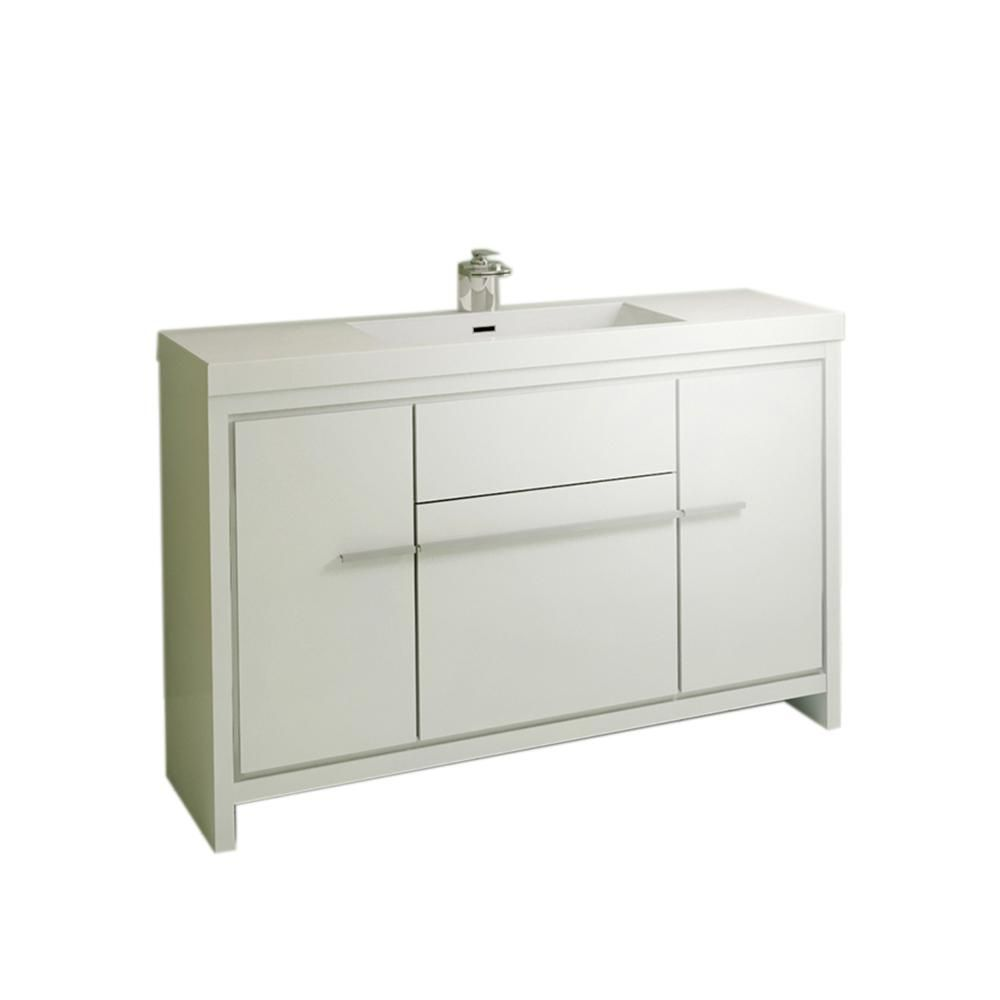 Home Elements The Modern 47 In W X 19 375 In D Bath Vanity In White With Acrylic Vanity Top In White With White Basin Bath Vanities Vanity Modern Vanity