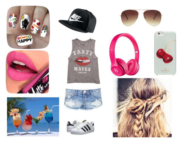 """""""лето"""" by zelinschi-antonia ❤ liked on Polyvore featuring beauty, One Teaspoon, Billabong, adidas Originals, Apple, NIKE, Kate Spade, Forever 21, Nail Pop and Fiebiger"""