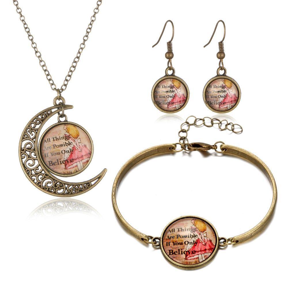 Details about jewellery gift set antique gold necklace bracelet